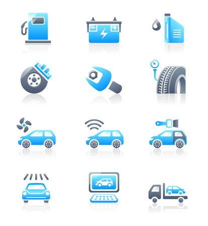 Car care, tuning, repair, and more service icons in blue-gray Illustration