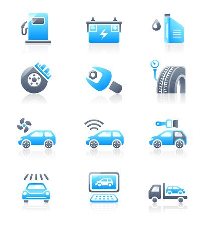 El cuidado de coches, tuning, reparación y servicio más iconos en azul-gris Ilustración de vector
