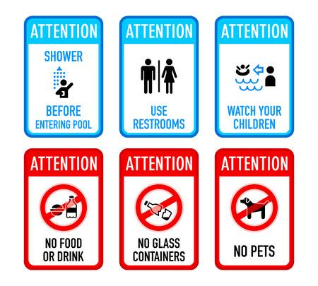 Conjunto de signos de advertencia típica piscina y prohibidos