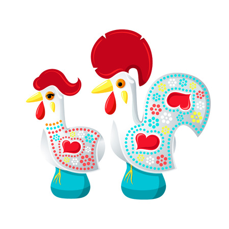 rooster: Decorated white Barcelos rooster and hen - symbols of Portugal Illustration