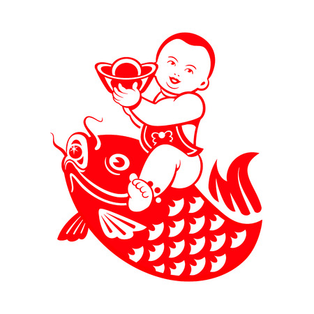 chubby: Chinese New Year postcard with chubby boy riding a carp