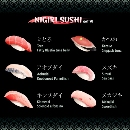 pez espada: Nigiri sushi con at�n, lubina, alfonsino, el pez espada y el pez loro