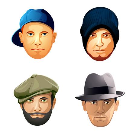 lad: Mens sombrero y la barba de la moda para adultos guapos