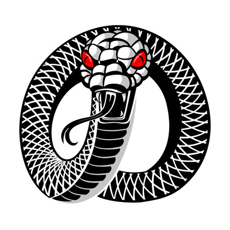 Angry snake round tattoo isolated