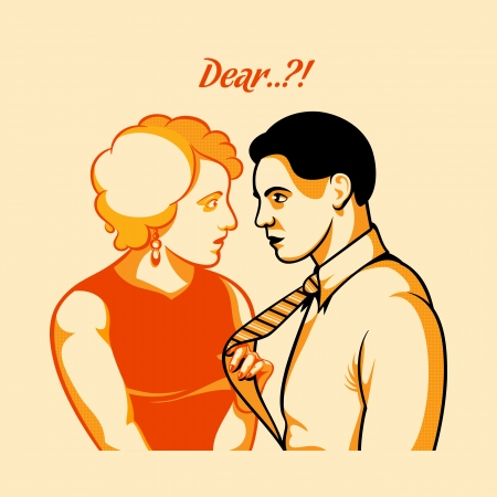 beloved: Vintage love quarrel in three color print halftone pattern