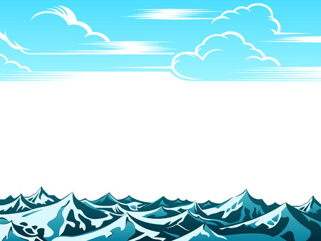 Artistic retro clouds and ocean waves background Vector
