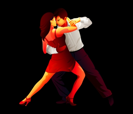 sexy young couple: Passionate young tango dancers isolated over black Illustration