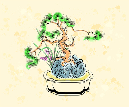 bonsai tree: Colorful ink styled drawing of bonsai tree with iris flowers