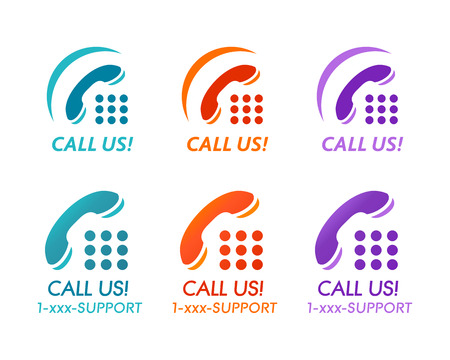 Call us! buttons or icons for phone customer support
