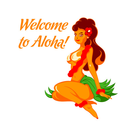 Cheerful native beauty welcome to the sunny Hawaii Vector