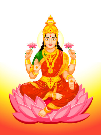 Hindu Goddess Lakshmi of wealth, prosperity, fortune, and the embodiment of beauty Иллюстрация
