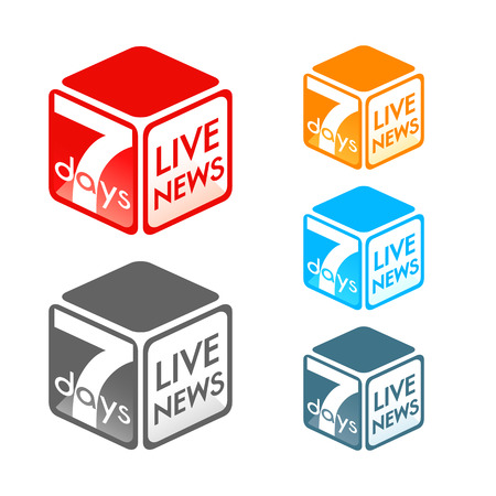 Fictional TV live news program symbol in colors Vector