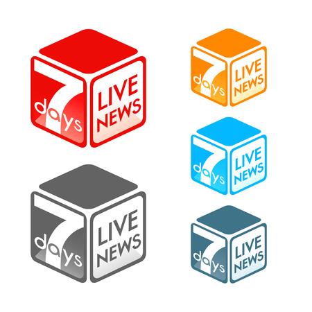 tv news: Fictional TV live news program symbol in colors Illustration