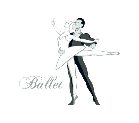 Dancing ballet pair isolated Vector