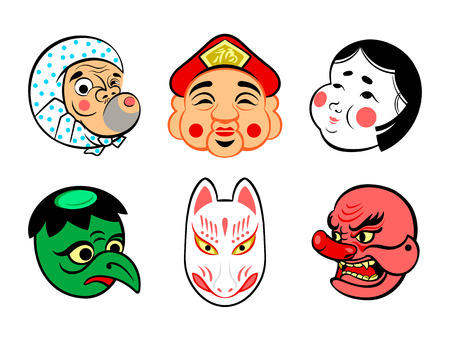 Japanese comical festival masks isolated Vector