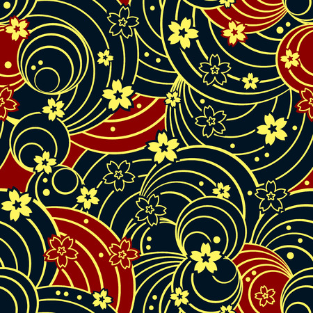 Seamless floral kimono pattern in night colors Vector