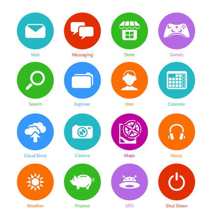 Metro-style flat round system icons, custom versions Vector