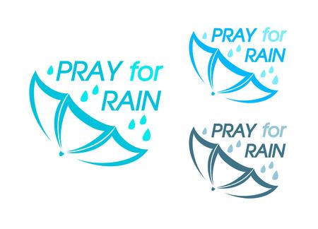 pray for: Abstract umbrella symbol for Pray for Rain campaign