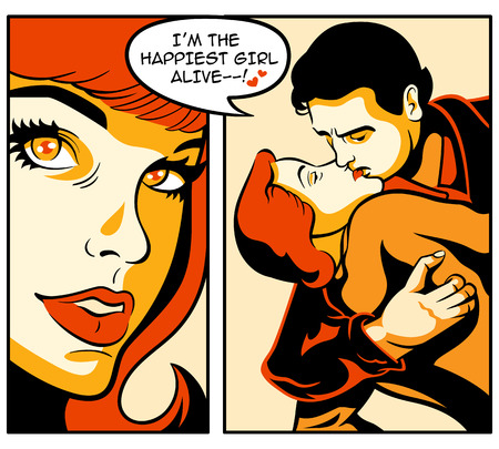 hugs and kisses: Retro love story in comics strip Illustration