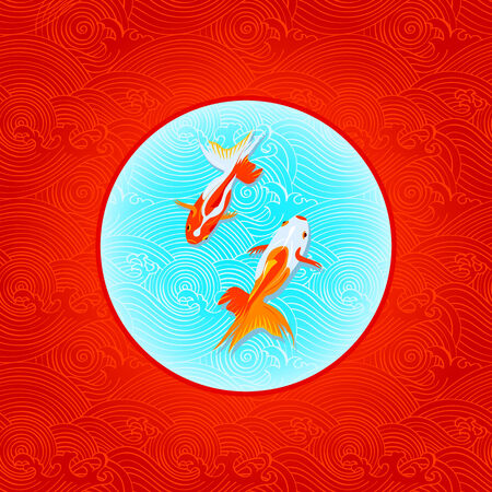 fish bowl: Pair of golfishes over inverted Japanese flag in waves