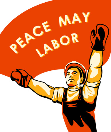 labor strong: Workers (or Labor) Day celebration poster Illustration