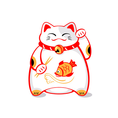 Japanese maneki-neko (lucky cat) with chopsticks and fish Stock Illustratie