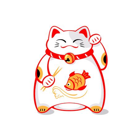 Japanese maneki-neko (lucky cat) with chopsticks and fish Illustration