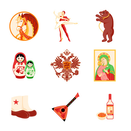 Animal, religious and culture symbols of Russia Vector
