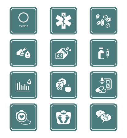 Diabetes health-care life teal icon-set Stock Illustratie