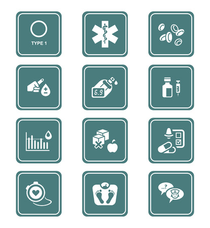 diabetes syringe: Diabetes health-care life teal icon-set Illustration