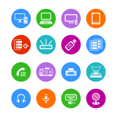 Metro-style flat round office electronics icons Vector