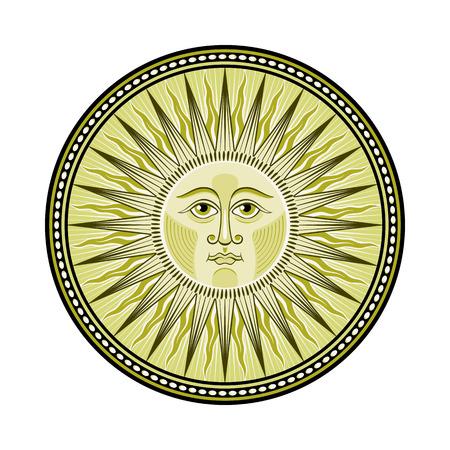 Decorated medieval sun emblem Illustration