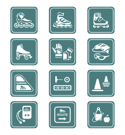 rollerblading: Inline skating boots, protection, accessories icon-set Illustration