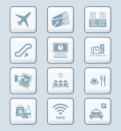 airport lounge: Airport services and objects gray icon-set