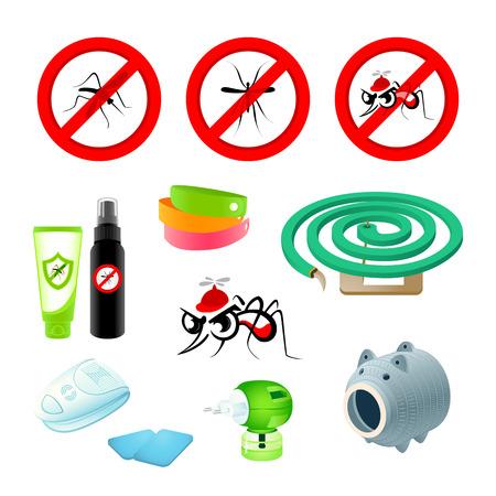 fumigador: Anti-mosquito símbolos, repelentes y dispositivos Vectores