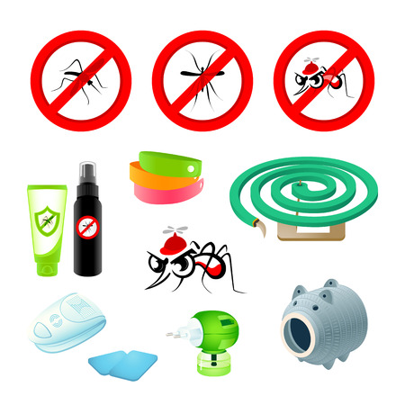 Anti-mosquito symbols, repellents and devices Vector
