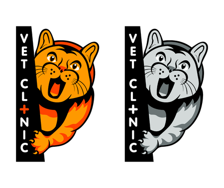 Vet clinic symbol with yelling cat isolated Vector