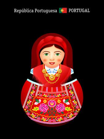 Matryoshkas of the World: portuguese girl in Minho Province dress Vector