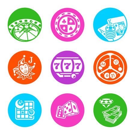 Colorful metro-style icons for online casino Vector