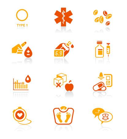 糖尿病医療ライフ赤オレンジ アイコン セット