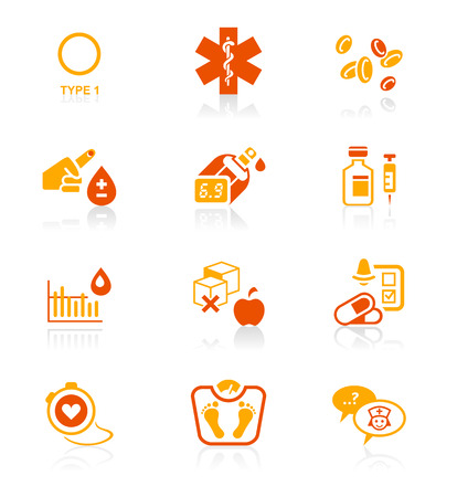 Diabetes health-care life red-orange icon-set Vector