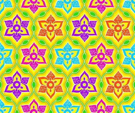 Seamless floral indian Rangoli pattern Vector