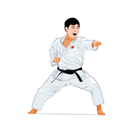 karate practice: Karate fighting stance isolated