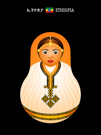 Matryoshkas of the World  ethiopian girl in habesha kemis dress Illustration