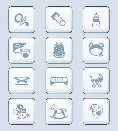 grey scale: Newborn and first years baby objects icon-set in gray Illustration