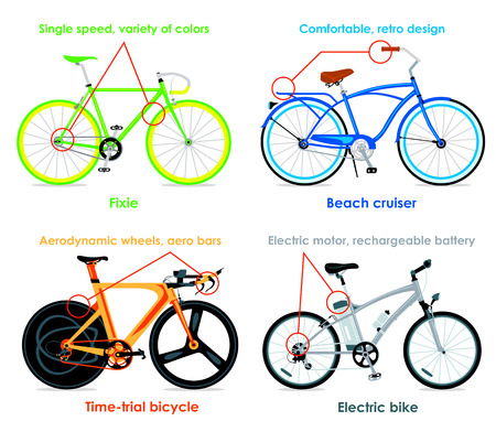 cruiser bike: Modern cruiser, fixie, time-trial bicycle and electric bike infographics Illustration