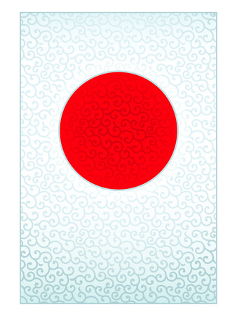 nengajo: Swirling background in form of Japanese national flag