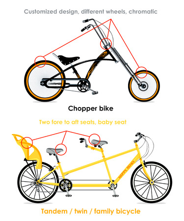 tandem bicycle: Chopper bike and tandem family bicycle infographics