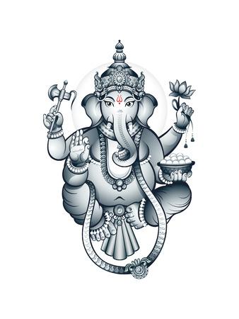 Hindu elephant-head deity Ganesha, the patron of arts and sciences Vector
