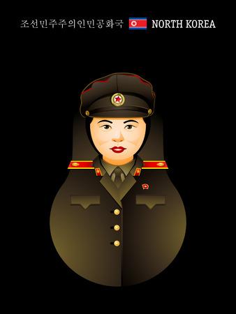 matryoshkas: Referencias del mundo: chica Corea del Norte en el uniforme militar Vectores